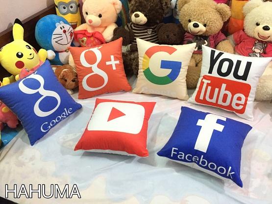 Gối tựa lưng văn phòng logo Facebook Google Youtube Hahuma